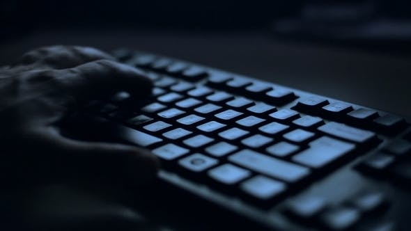 Thumbnail for Hands Typing Text On The Keyboard, Night Theme
