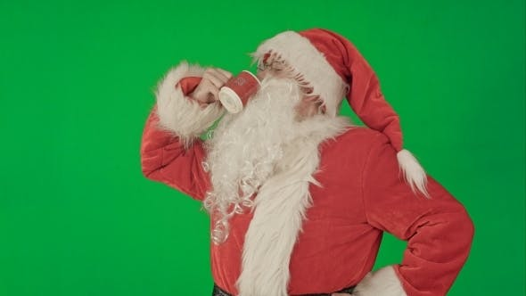 Thumbnail for Santa Drinks From a Red Cup On a Green Screen