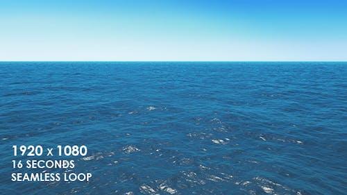Calm Ocean Waves with Clear Sky Horizon