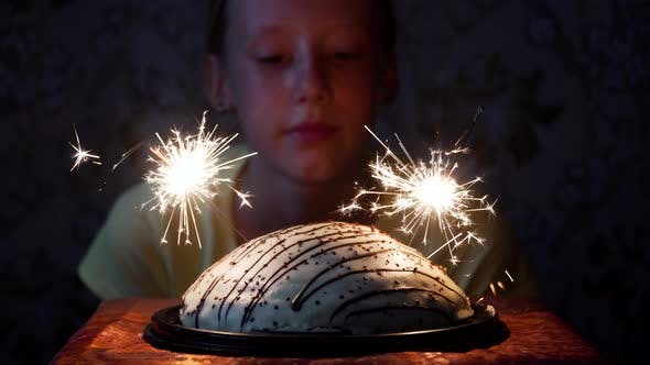 Thumbnail for Girl and Cake with Fireworks