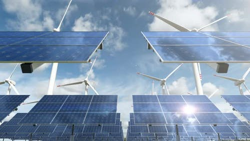 Animation with Solar Panel Cells and Spinning Wind Turbines on Eco Energy Farm