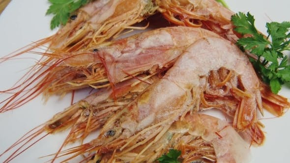 Several Frozen Prawns