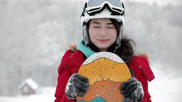 Cover Image for Portrait of Young Snowboarder Girl