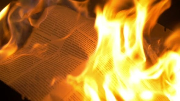 Thumbnail for Newspaper In The Flames Of Fire