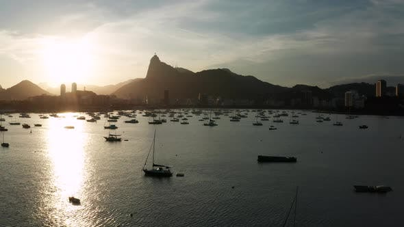 Thumbnail for Aerial View of Sunset in Rio De Janeiro, Brazil. Botafogo Beach and Yachts.