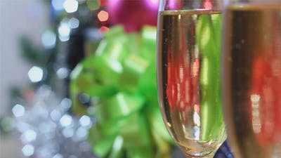 Christmas Champagne Glasses with Champagne