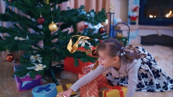 Thumbnail for Cute Girl Found Her Gift Under The Christmas Tree
