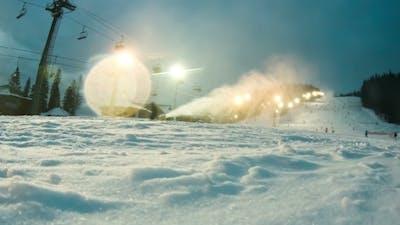 Night Skiing At The Ski Slopes