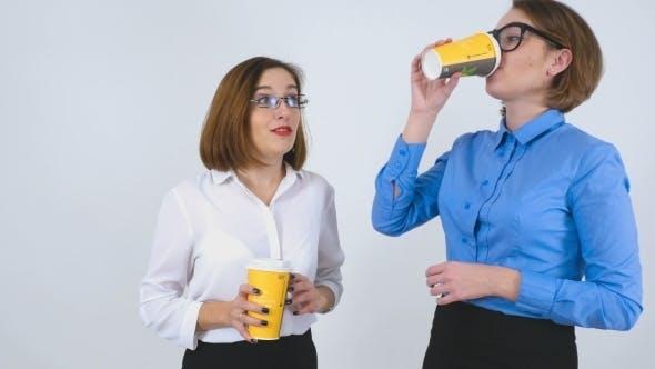 Thumbnail for Businesswomen On Coffee Break Telling Stories