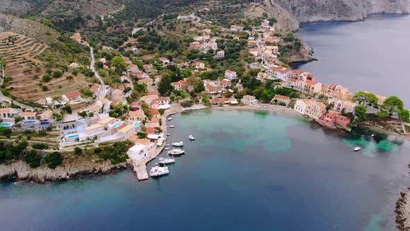Top View Panorama of Greek City of Asos, Kefalonia