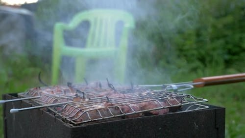 Cooking Barbeque Meat In Roaster