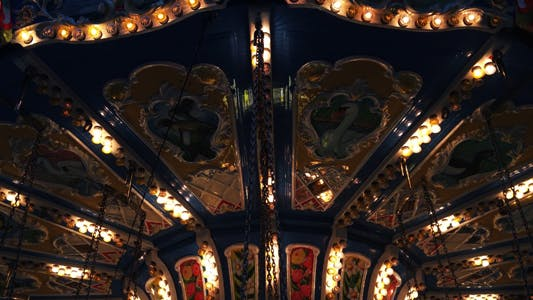 Thumbnail for Carousel in Amusement Park in Fun Fair Merry Go Round 1