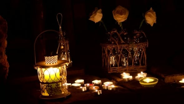 Thumbnail for Romantic Atmosphere With Flowers, Candles