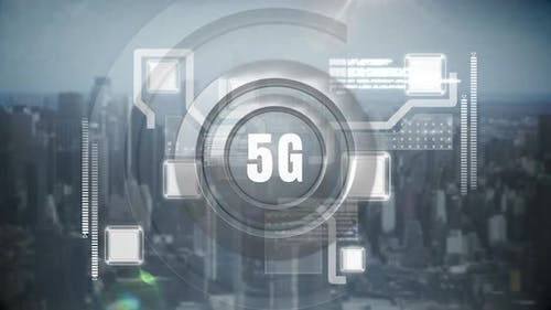 5g logo against a digital animation on a cityscape background