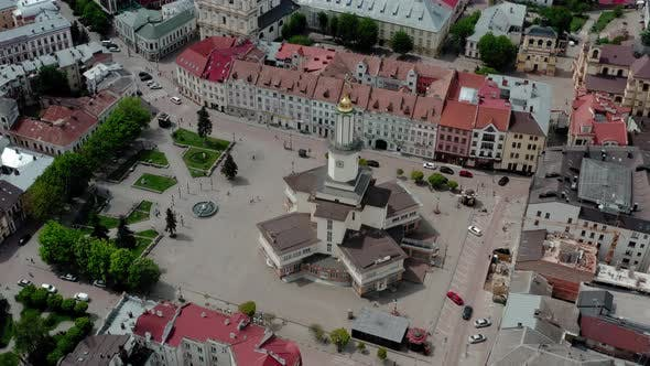 Thumbnail for Aerial Drone View Old Historical Buildings of European Town. Center of Ivano Frankivsk City, Ukraine