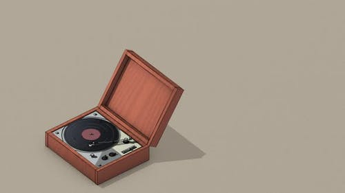 Retro style vinyl record player with music notes flying out.