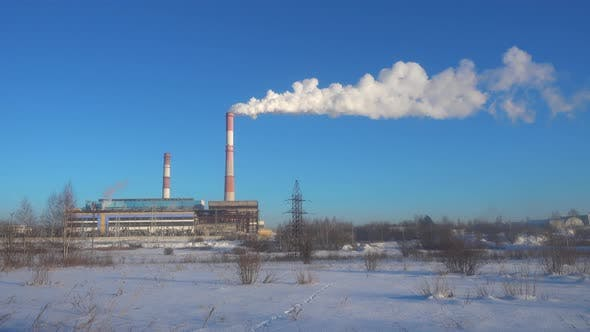Thumbnail for Industrial Landscape. Thermal Chimney of Power Station