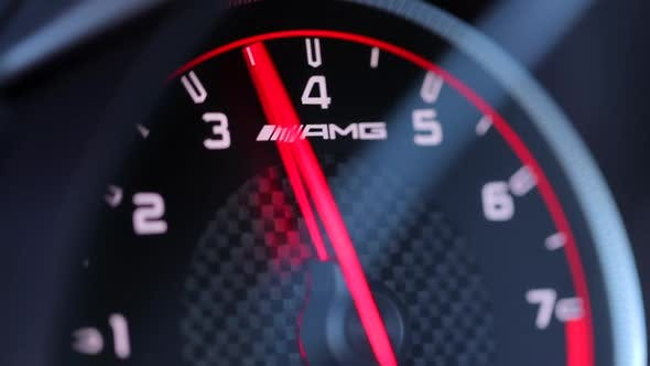 Thumbnail for San Francisco. Jan 2019. Close-up View of Mercedes AMG Speedometer. Speed Acceleration in a Luxury