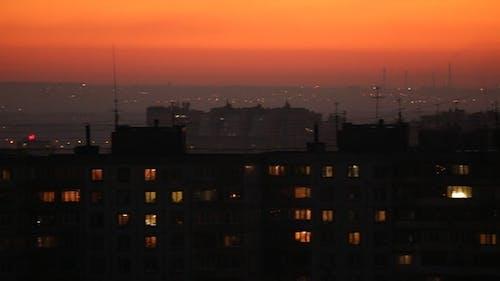 City Skyline After Sunset, Horizontal Panorama