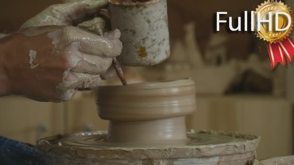 Thumbnail for Potter Craftsman is Working on Pottery Wheel
