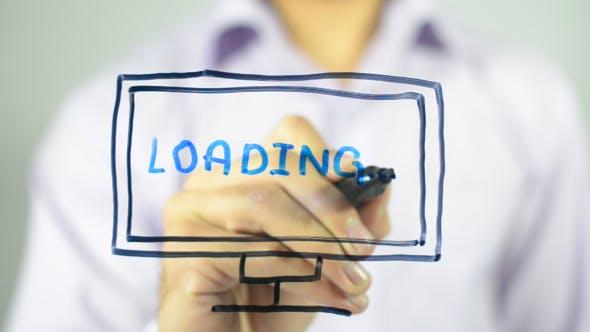 Thumbnail for Loading Data, computer monitor, Concept Illustration