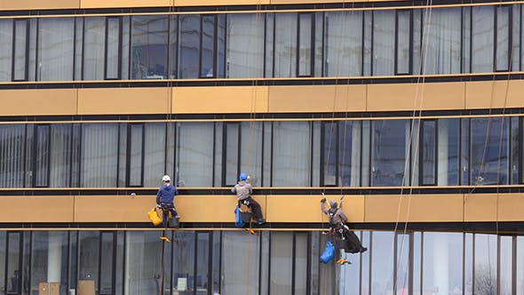 Thumbnail for Washers Wash The Windows Of Modern Skyscraper