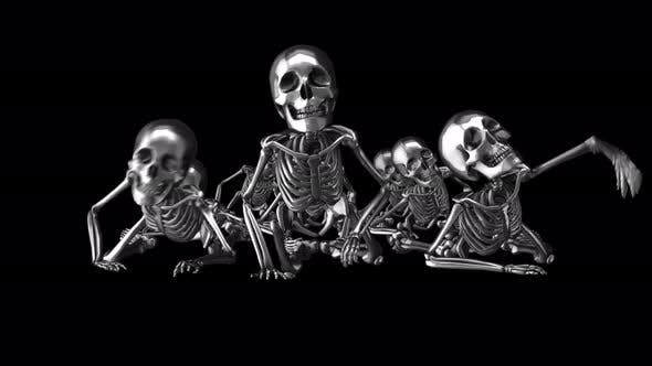 4K Silver crawling skeletons with alpha channel