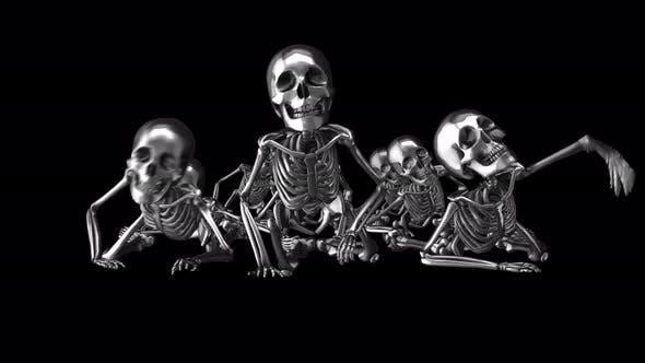 4K Silber krabbelnde Skelette mit Alphakanal