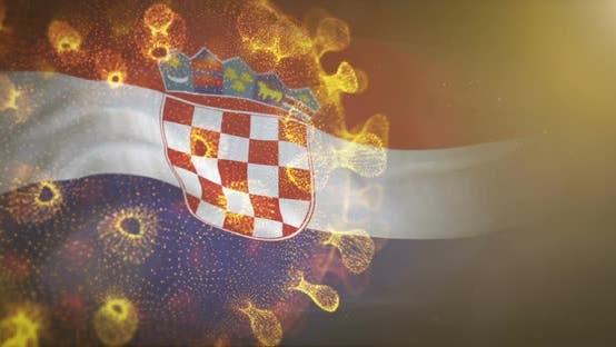 Thumbnail for Croatia Flag With Corona Virus Bacteria