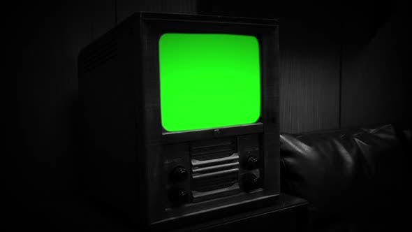 Old 60s TV with Green Screen. Black and White Tone.