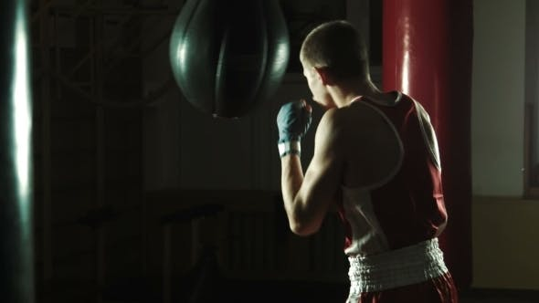 Thumbnail for Young Boxer Hitting Punching Bag In Gym