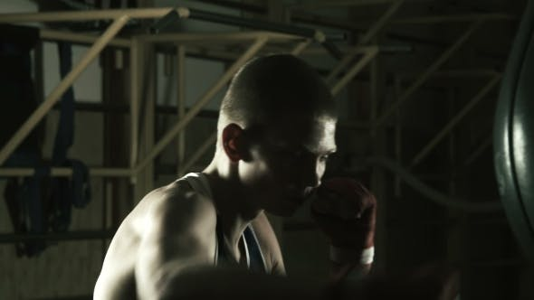 Thumbnail for The Young Boxer Training In Gym With Punching Bag