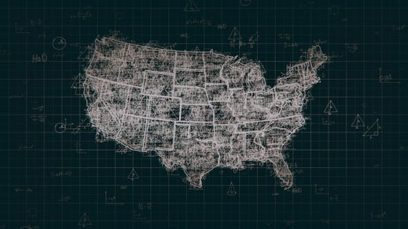 Cover Image for Black Abstract Math USA Map 4K