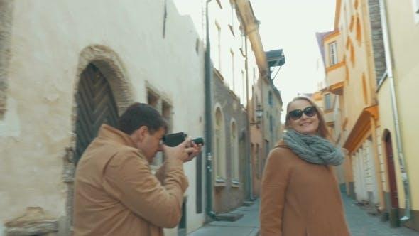 Thumbnail for Man Shooting Touristic Walk With Retro Camera