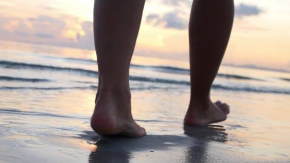 Thumbnail for Woman Legs Walking On Beach In Sea Waves