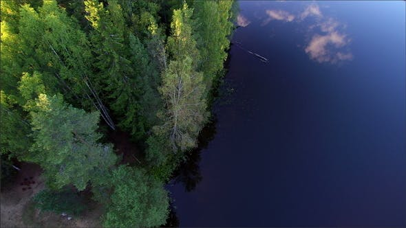 View from the Sky of the Clear Water of the River