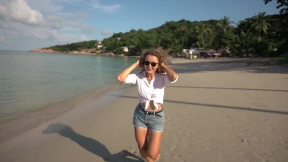 Thumbnail for Happy Lifestyle Woman On a Beach On Summer