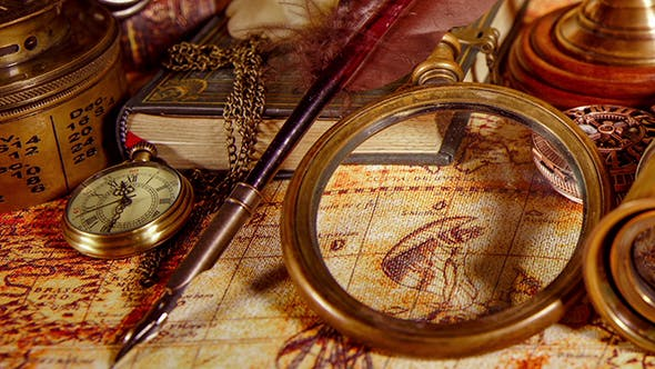 Thumbnail for Vintage Magnifying Glass Lies On An Ancient World Map