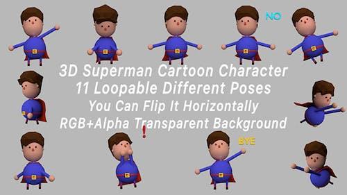 3D Superman Cartoon Character Poses Pack