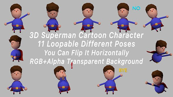 Thumbnail for 3D Superman Cartoon Character Poses Pack