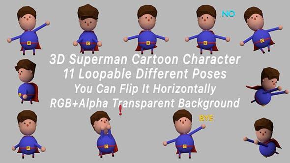 Thumbnail for 3D Superman Cartoon Figur Posen Pack