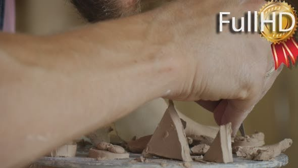 Thumbnail for Male Potter Craftsman is Making a Clay