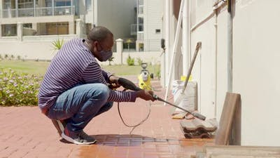 Cleaning Tile with Water Pressure Washer