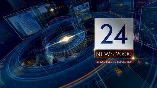 Breaking NEWS 24 TV Broadcast Package/ Business and Political Summit/ Glass Cube Intro/ HUD UI Text