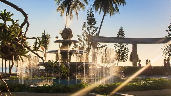 Thumbnail for Round Fountain Operates Changing Jets in Tropical Park
