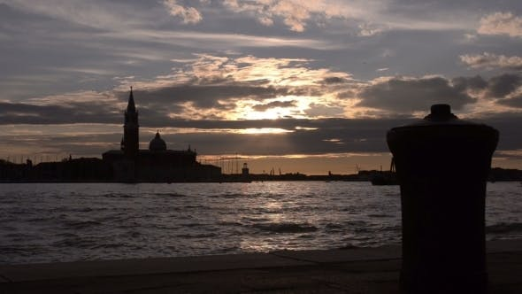 Thumbnail for Quay In Venice. Sunset In The Bay Of San Marco.