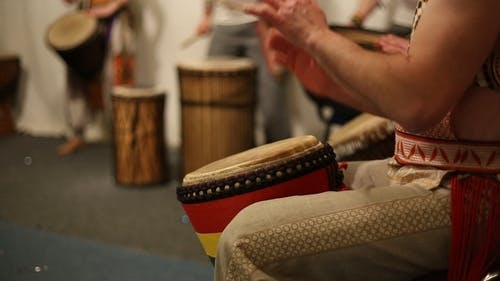 Musical Group Plays Ethnic Drums Djembe