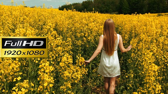 Thumbnail for Young Girl Walking Through The Tall Grass of a Field