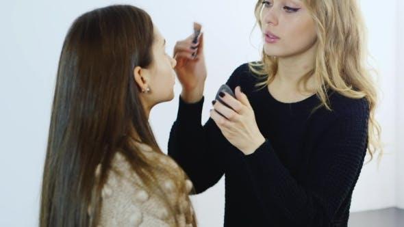 Thumbnail for Young Makeup Artist Apply Makeup Girl