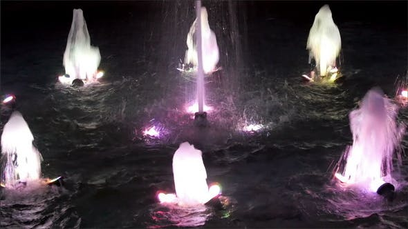 Lighted Fountain with Water Sprouting